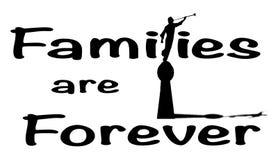 Οι οικογένειες είναι για πάντα στο άσπρο υπόβαθρο ελεύθερη απεικόνιση δικαιώματος