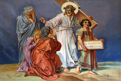 οι 8οι σταθμοί του σταυρού, Ιησούς συναντούν τις κόρες της Ιερουσαλήμ Στοκ εικόνα με δικαίωμα ελεύθερης χρήσης