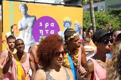 Οι ομάδες του Ρίο καρναβάλι παρήλασαν μέσω της πόλης και προειδοποιούν για τους κινδύνους ιών Zika Στοκ Φωτογραφία