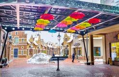 Οι ομπρέλες στην καλυμμένη στοά Στοκ φωτογραφία με δικαίωμα ελεύθερης χρήσης