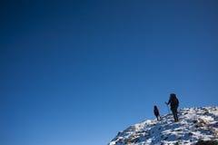 Οι ορεσίβιοι αναρριχούνται στη χιονώδη κλίση στοκ εικόνα με δικαίωμα ελεύθερης χρήσης