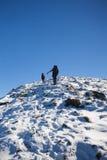 Οι ορεσίβιοι αναρριχούνται στη χιονώδη κλίση στοκ εικόνες