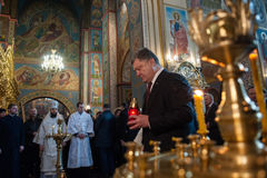 Οι ουκρανικοί πολιτικοί τιμούν τη μνήμη των σκοτωμένων ενεργών στελεχών EuroMaidan Στοκ Εικόνα