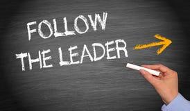 οι πάπιες παπιών ακολουθούν τη γραμμή μολύβδων ηγετών ένα κόκκινος λαστιχένιος κίτρινος Στοκ Εικόνες