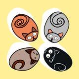 Οι πέτρες υπό μορφή γατών (Doodle) Στοκ Εικόνες