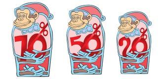 Οι πίθηκοι θα παρουσιάσουν στους αγοραστές τις ελκυστικές εκπτώσεις Στοκ εικόνες με δικαίωμα ελεύθερης χρήσης