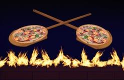 Οι πίτσες στις ξύλινες φλούδες πιτσών βλέπουν τις αιωμένος φλόγες και τα τούβλα από έναν ξύλινο καίγοντας φούρνο πιτσών τούβλου σ στοκ φωτογραφία με δικαίωμα ελεύθερης χρήσης