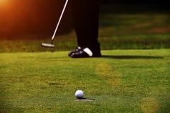 Οι παίκτες γκολφ βάζουν το γκολφ στο γήπεδο του γκολφ βραδιού στοκ εικόνα με δικαίωμα ελεύθερης χρήσης