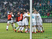 Οι παίκτες FC πραγματικοί γιορτάζουν τη νίκη στην αντιστοιχία ενάντια σε FC Krasnodar στην κατώτερη ένωση της Ευρώπης Στοκ Εικόνες