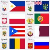 Οι παγκόσμια σημαίες και τα κεφάλαια θέτουν 19 διανυσματική απεικόνιση
