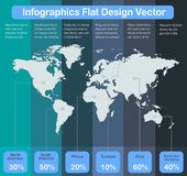 Οι παγκόσμιοι χάρτες Infographics των ηπείρων χρωματίζουν το υπόβαθρο λωρίδ ελεύθερη απεικόνιση δικαιώματος