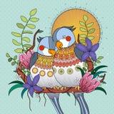Οι παπαγάλοι αγκαλιάζουν στοργικά ο ένας με τον άλλον διανυσματική απεικόνιση