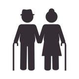 Οι παππούδες και γιαγιάδες συνδέουν το εικονίδιο σκιαγραφιών Στοκ εικόνες με δικαίωμα ελεύθερης χρήσης