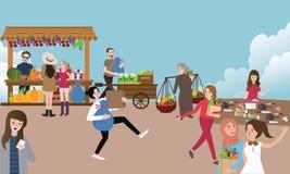 Οι παραδοσιακοί πολυάσχολοι άνθρωποι δραστηριότητας ελεύθερης αγοράς που πωλούν την αγορά και φέρνουν την ουσία υπαίθρια απεικόνιση αποθεμάτων