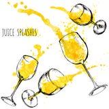 Οι παφλασμοί πορτοκαλιών και μήλων χυμού στα γυαλιά κρασιού, watercolor, σκιαγραφούν τη διανυσματική απεικόνιση Στοκ Εικόνα