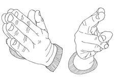 Οι παλάμες ευλογούν και προσεύχονται συρμένη τη χέρι σκιαγραφημένη απεικόνιση Στοκ Εικόνες
