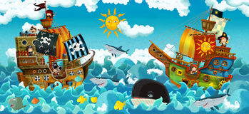 Οι πειρατές στη θάλασσα - μάχη - απεικόνιση για τα παιδιά Στοκ Εικόνες