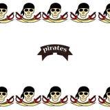 Οι πειρατές σχεδίων Simless τα σχέδια με το χέρι Σύμβολο-ξίφη πειρατών, στήθος θησαυρών, κρανίο και crossbones, Davy Τζόουνς, χτα ελεύθερη απεικόνιση δικαιώματος