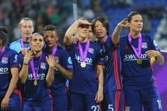 Οι ποδοσφαιριστές της Λυών χαίρονται για τη νίκη Στοκ Εικόνα