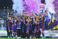 Οι ποδοσφαιριστές της Λυών χαίρονται για τη νίκη Στοκ φωτογραφία με δικαίωμα ελεύθερης χρήσης