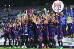 Οι ποδοσφαιριστές της Λυών χαίρονται για τη νίκη Στοκ Εικόνες
