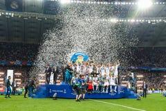 Οι ποδοσφαιριστές της Real Madrid γιορτάζουν τη νίκη Στοκ φωτογραφίες με δικαίωμα ελεύθερης χρήσης