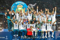 Οι ποδοσφαιριστές Real Madrid γιορτάζουν τη νίκη Στοκ Φωτογραφία