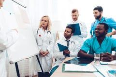 Οι πολυεθνικοί γιατροί ομαδοποιούν τη διαγνωστική συνεδρίαση στοκ φωτογραφίες