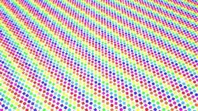 Οι πολύχρωμοι τρισδιάστατοι αριθμοί από τους κύβους πετούν αργά σε ένα λευκό r φιλμ μικρού μήκους