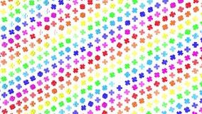 Οι πολύχρωμοι τρισδιάστατοι αριθμοί από τους κύβους πετούν αργά σε ένα λευκό r απόθεμα βίντεο