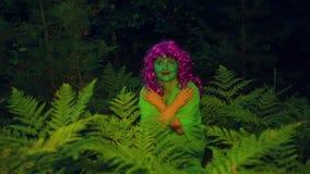 Οι πράσινες δορές μαγισσών στους θάμνους στο δάσος στο σούρουπο απόθεμα βίντεο