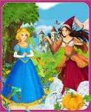 Οι πριγκήπισσες - Cinderella - κάστρα - ιππότες και νεράιδες - όμορφο κορίτσι Manga - απεικόνιση για τα παιδιά Στοκ Φωτογραφίες