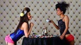 Οι προκλητικές γυναίκες κουβεντιάζουν πέρα από το τσάι Στοκ Εικόνα