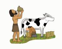 Οι πρώτοι άνθρωποι ξέπλυναν και ήπιαν τα κινούμενα σχέδια γάλακτος της αγελάδας απεικόνιση αποθεμάτων