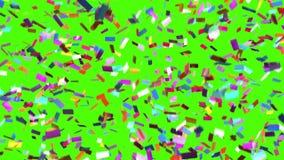 Οι πτώσεις κομφετί σε ένα πράσινο υπόβαθρο, περιτυλίχτηκαν τρισδιάστατη ζωτικότητα απόθεμα βίντεο