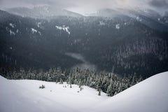 Οι πτώσεις χιονιού στα βουνά Στοκ εικόνα με δικαίωμα ελεύθερης χρήσης