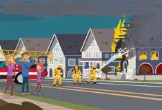 Οι πυροσβέστες εξαφανίζουν το σπίτι Ασφαλιστική έννοια διανυσματική απεικόνιση