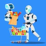Οι πωλήσεις, ρομπότ που πηγαίνουν με τις μεγάλες τσάντες αγορών με τα αγαθά διαθέσιμα δίνουν το διάνυσμα απομονωμένη ωθώντας s κο ελεύθερη απεικόνιση δικαιώματος