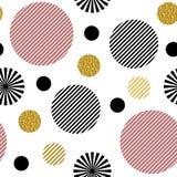 r Οι ριγωτοί μαύροι και ρόδινοι κύκλοι και οι κύκλοι με το χρυσό ακτινοβολούν απομονωμένος στο άσπρο υπόβαθρο διανυσματική απεικόνιση