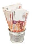 Οι ρωσικοί λογαριασμοί ρουβλιών στο μέταλλο μπορούν Στοκ Εικόνα