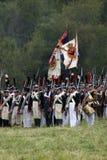 Οι ρωσικοί στρατιώτες στρατού σε Borodino μάχονται την ιστορική αναπαράσταση στη Ρωσία Στοκ εικόνα με δικαίωμα ελεύθερης χρήσης