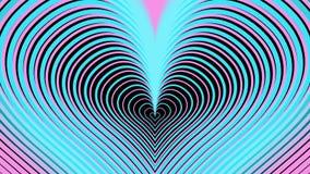 Οι ρόδινες και μπλε καρδιές κρητιδογραφιών αυξάνονται, vj βρόχος, ανακύκλωσαν τη ζωτικότητα απεικόνιση αποθεμάτων