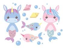 Οι ρόδινοι και μπλε γοργόνες μονοκέρων κινούμενων σχεδίων μωρών, ο ξιφίας, το θαλασσινό κοχύλι και το νερό βράζουν διανυσματικό σ απεικόνιση αποθεμάτων