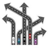 Οι δρόμοι στις διαφορετικές κατευθύνσεις Προορισμοί υπό μορφή βελών αφηρημένη εικόνα απεικόνιση Στοκ φωτογραφία με δικαίωμα ελεύθερης χρήσης