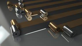 Οι ρόλοι μετάλλων που ξετυλίγουν στο γκρίζο υπόβαθρο τρισδιάστατο δίνουν Στοκ φωτογραφία με δικαίωμα ελεύθερης χρήσης