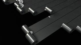 Οι ρόλοι μετάλλων που ξετυλίγουν στο μαύρο υπόβαθρο τρισδιάστατο δίνουν Στοκ Φωτογραφία