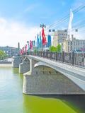 Οι σημαίες στη γέφυρα Borodinsky Στοκ Εικόνα