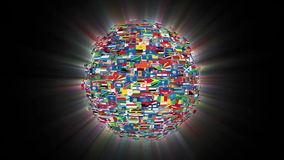Οι σημαίες της παγκόσμιας σφαίρας που περιστρέφεται, βρόχος, λάμπουν, μήκος σε πόδηα αποθεμάτων απεικόνιση αποθεμάτων