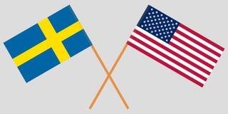 Οι σημαίες της Σουηδίας και των Ηνωμένων Πολιτειών είναι διαγώνιες διάνυσμα Στοκ Φωτογραφίες