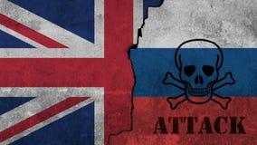 Οι σημαίες του Ηνωμένου Βασιλείου και του Ρώσου χρωματίζω στον τοίχο στοκ φωτογραφία με δικαίωμα ελεύθερης χρήσης